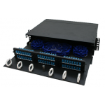 2 RU 6 PLATE PATCH PANEL WITH 2 x 24 CT SPLICE TRAYS AND SPOOLS, BLACK thumbnail