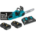 18v X2 LXT Li-Ion Brushless Cordless 14 Inch Chain Saw Kit with 4 5Ah Batteries and Charger