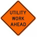 "36"" X 36"" REFLECTIVE ""UTILITY WORK AHEAD"" ROLL UP SIGN"