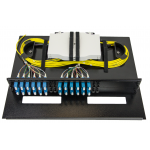 Image of 2RU 48 PORT PATCH & SPLICE PANEL SM LC-UPC 250UM PIGTAILS AND SPLICE TRAYS (small)