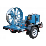 Condux Open Style Fiber Optic Cable Puller Trailer shown fully loaded. Puller, power pack and capstans are sold separately.